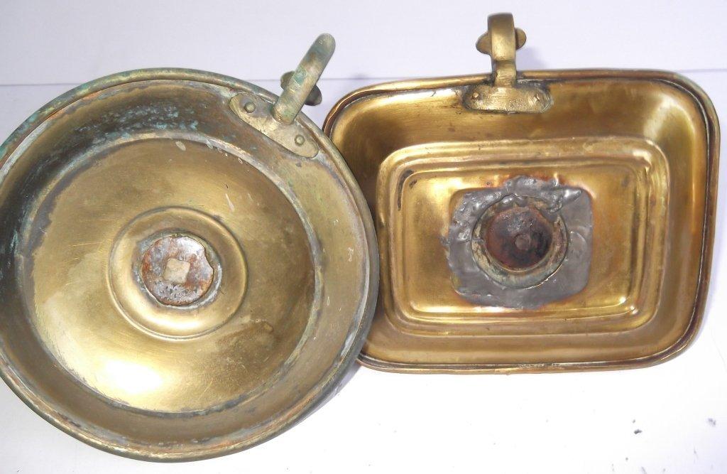"""6 brass """"hog scraper"""" candle holders - 5"""