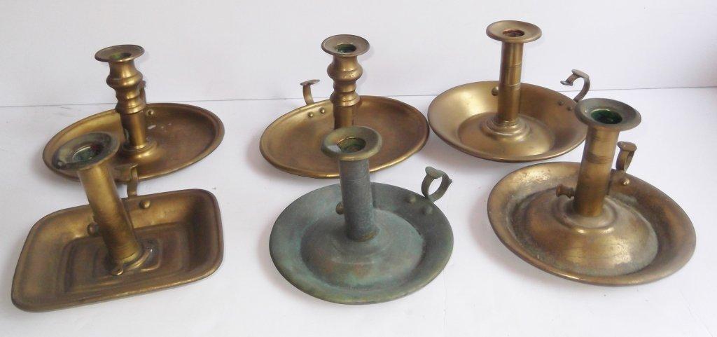 """6 brass """"hog scraper"""" candle holders - 6"""