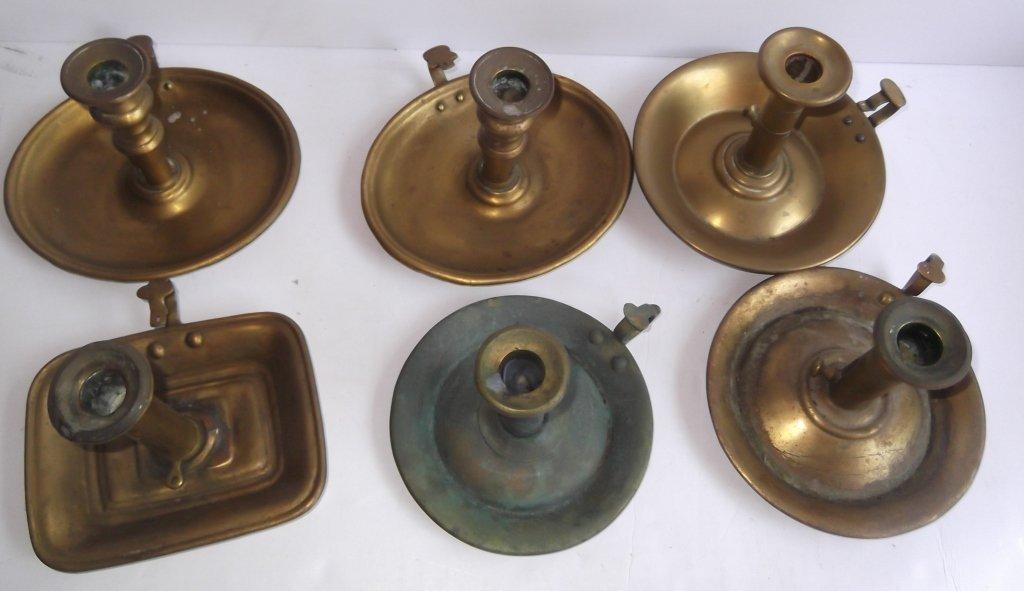 """6 brass """"hog scraper"""" candle holders - 7"""