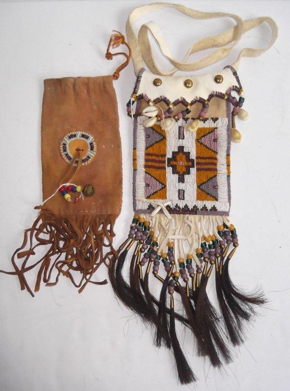 2 Oklahoma Indian beaded buckskin purses