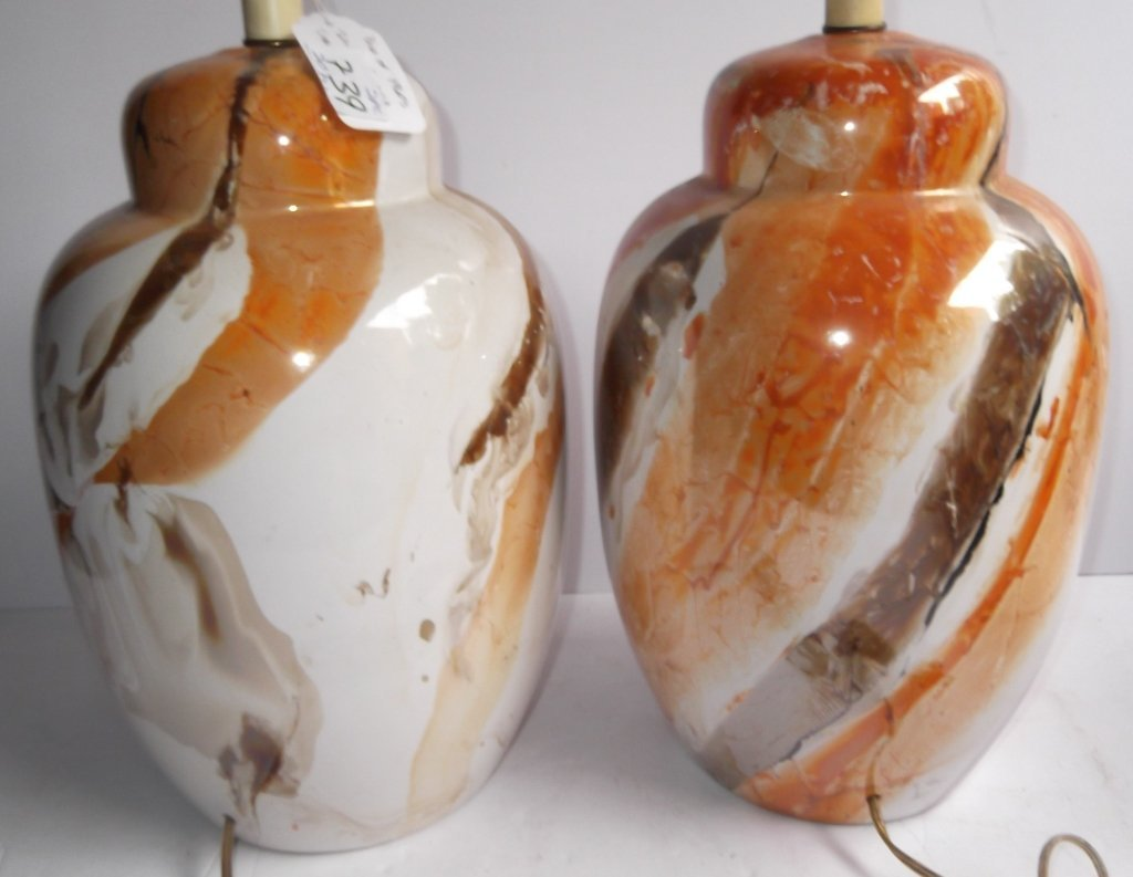 """Pair of 1960's """"Lava"""" glazed table lamps - 2"""