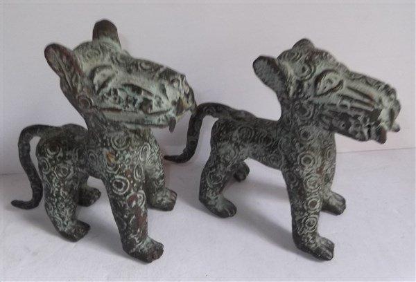 2 Benin bronze leopard figures
