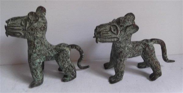2 Benin bronze leopard figures - 3