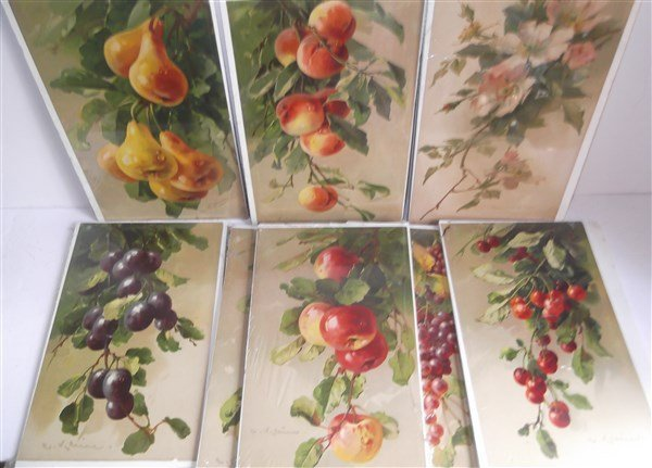 8 fruit chromolithographs