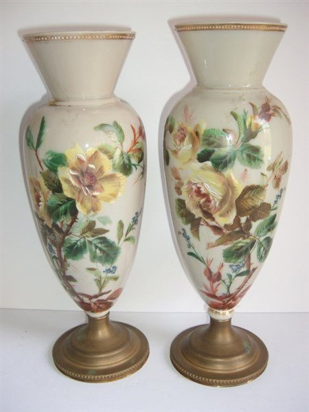 Pair of 19th c. opaque decorated glass vases