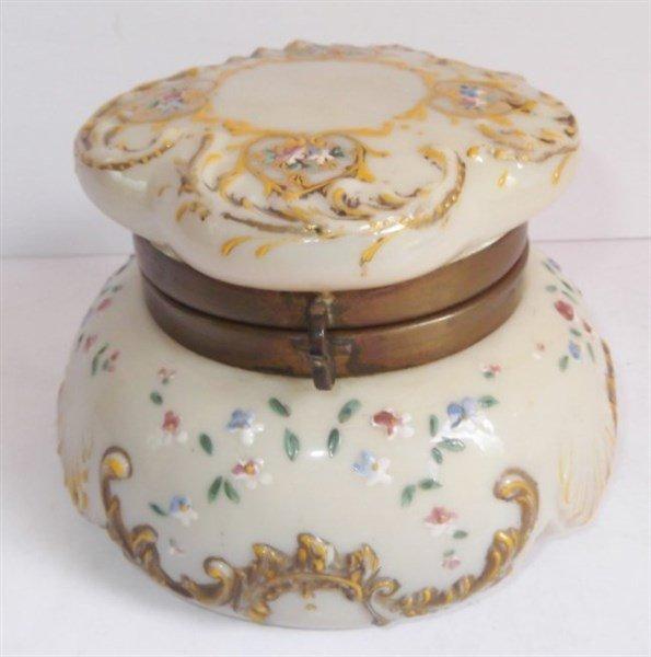 Victorian Bristol glass jewelry casket