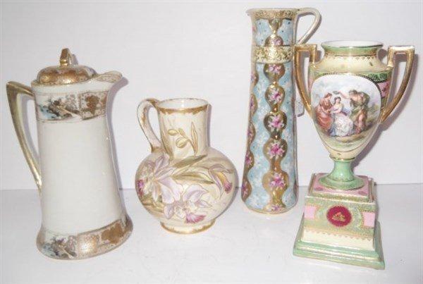 4 piece hand painted porcelain