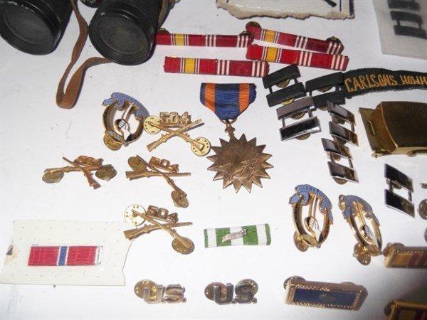Military pins, badges, belt buckle. - 3