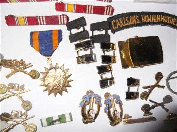 Military pins, badges, belt buckle. - 4