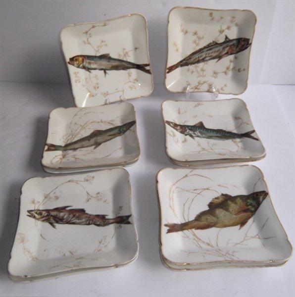 10  Haviland Limoges square fish plates