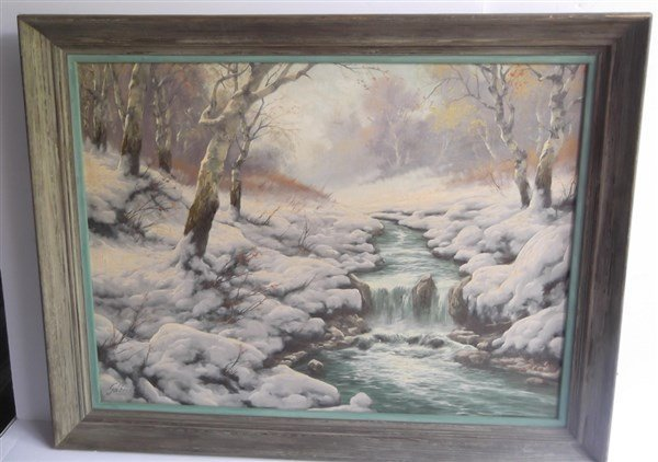 Oil on canvas stream in woods winter scene