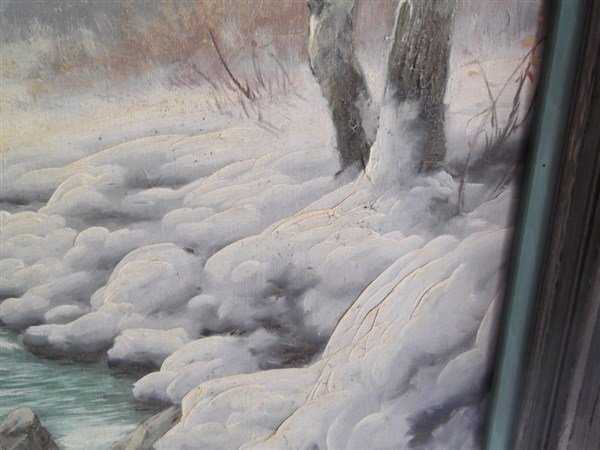 Oil on canvas stream in woods winter scene - 2