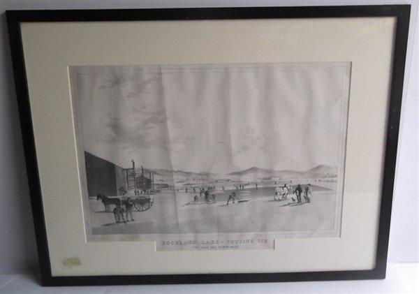 Large lithograph titled Rockland Lake