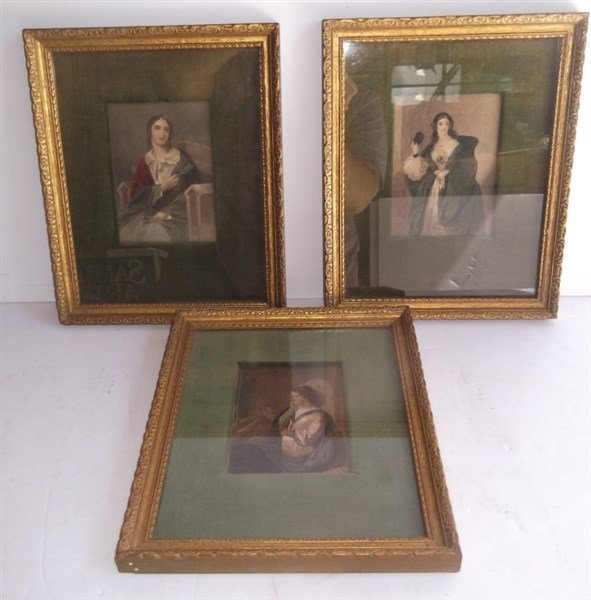 3 colored engravings woman portraits