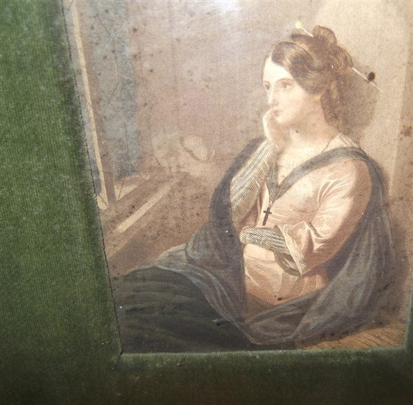 3 colored engravings woman portraits - 2