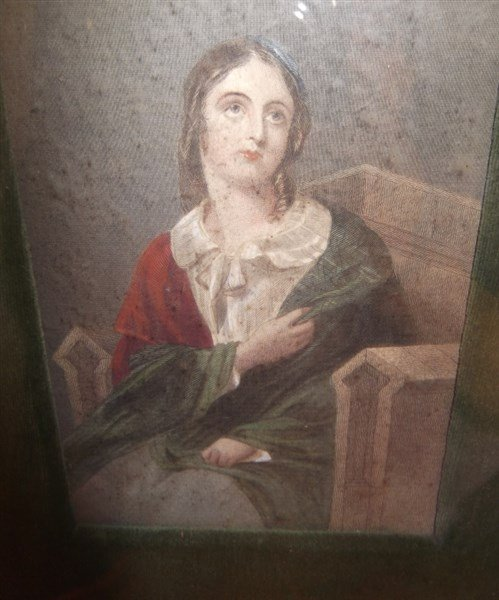 3 colored engravings woman portraits - 4