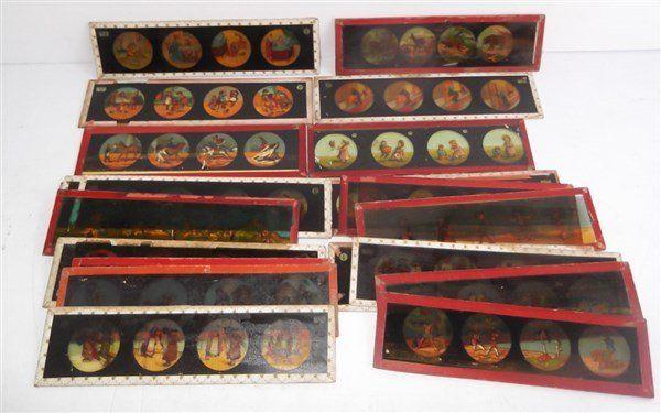 21 antique magic lantern glass slides