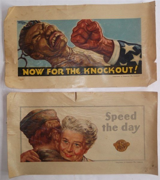 2 WWII c. 1941-1945  American Oil Company posters