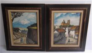 2 Watercolors Mexican village street scenes