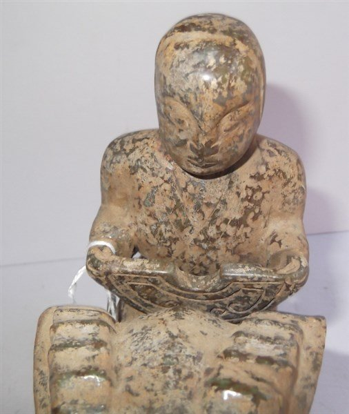 Stone carved Oriental man on ram statue - 2
