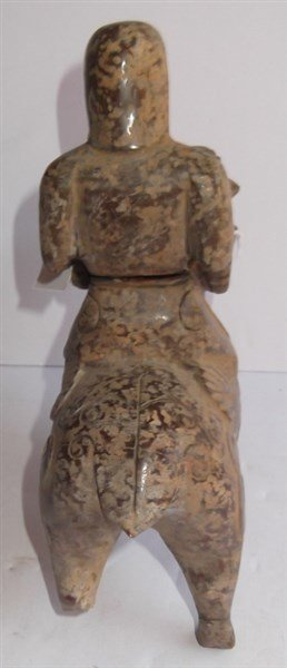 Stone carved Oriental man on ram statue - 3