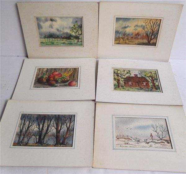 6 watercolor paintings