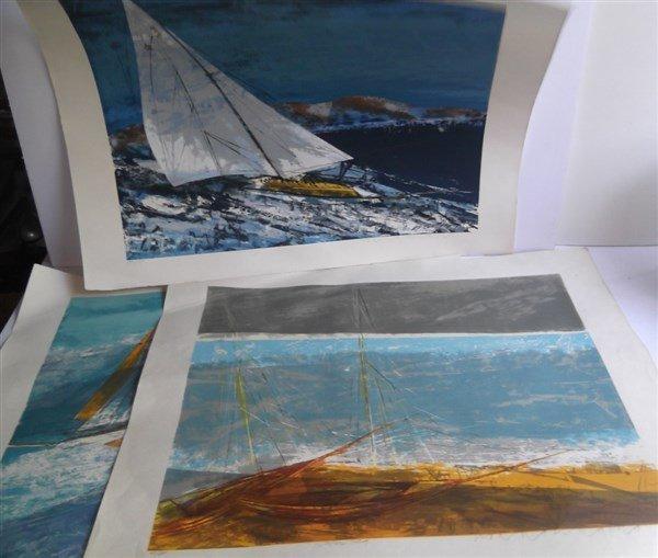 3 large sailboat at sea lithographs signed