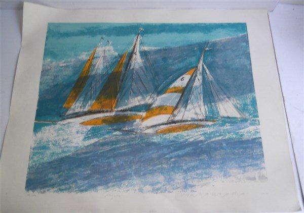 3 large sailboat at sea lithographs signed - 3