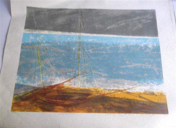 3 large sailboat at sea lithographs signed - 4