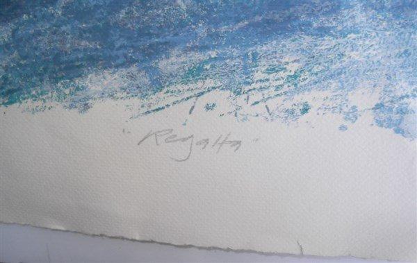 3 large sailboat at sea lithographs signed - 5