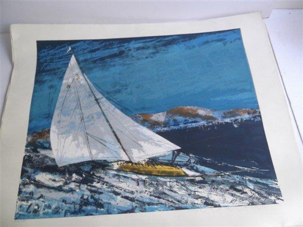 3 large sailboat at sea lithographs signed - 7