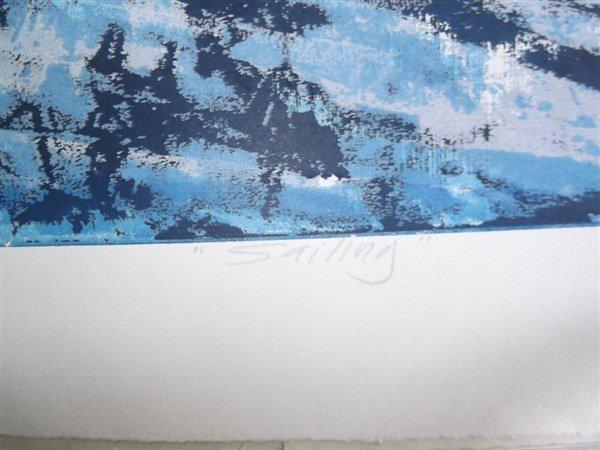 3 large sailboat at sea lithographs signed - 8