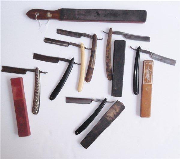 7 straight razors & 1 sharpener
