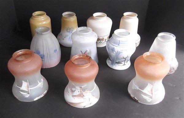 11 vintage glass shades