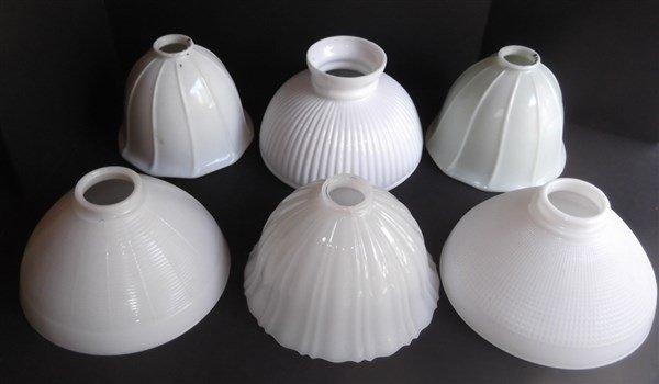 6 vintage milk glass lamp shades