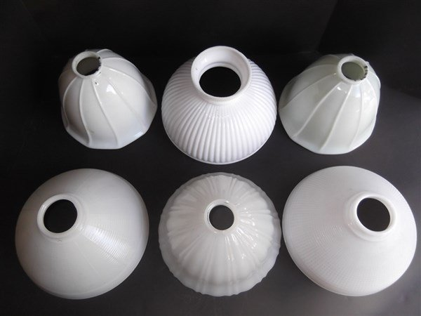 6 vintage milk glass lamp shades - 2