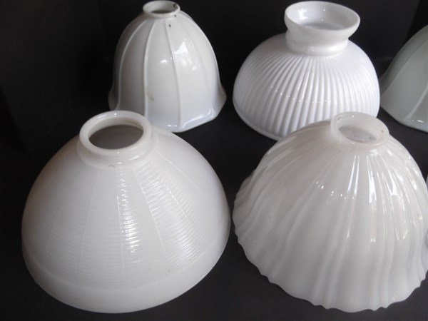 6 vintage milk glass lamp shades - 3
