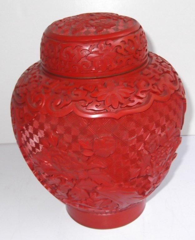 Chinese Cinnabar Carved covered urn