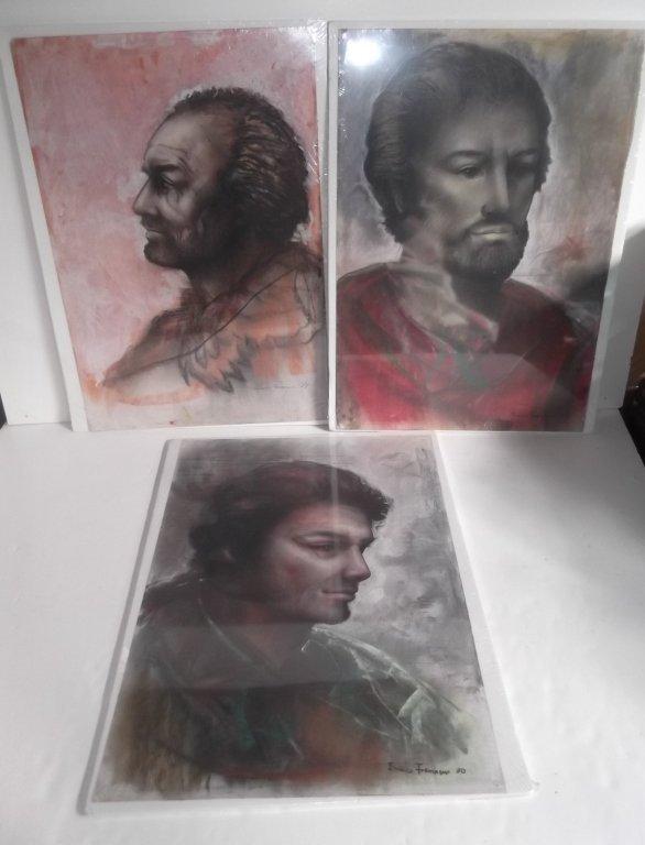 3 original pastels  by Enrico Fornaini