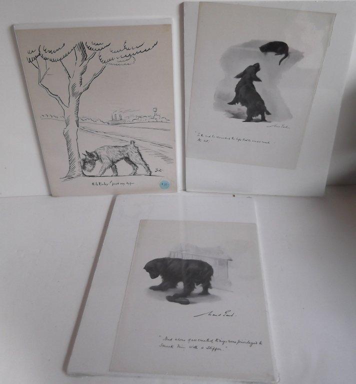 3 Original  pen & ink/mixed media dog drawings