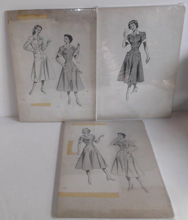 "3 original ""Shirtwaist Dress"" sketches"