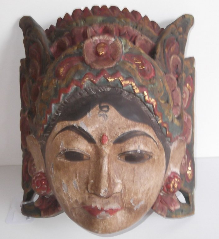 Oceanic goddess wood polychrome mask