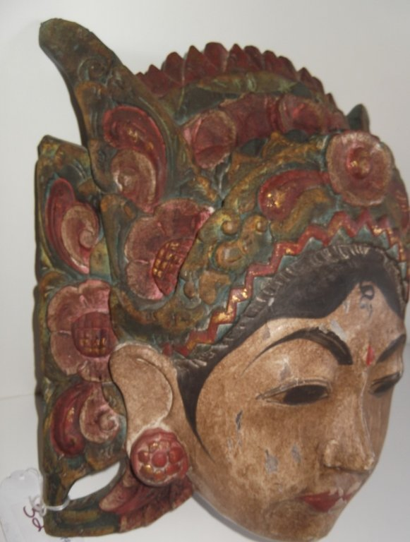 Oceanic goddess wood polychrome mask - 4