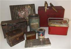9 advertising tins including