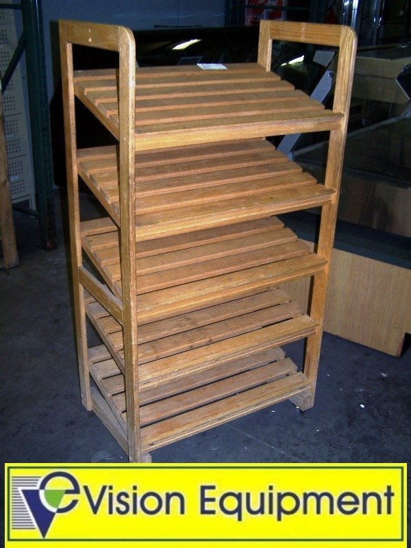 Used Commercial Wooden Bread Display Shelf on castors