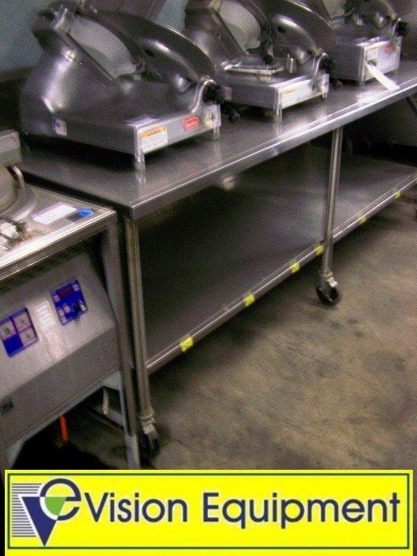 2235: 8 Foot Stainless Steel Used Prep Table