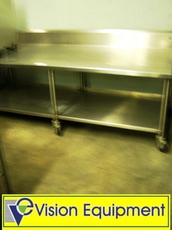 2242: 8 Foot Stainless Steel Used Prep Table