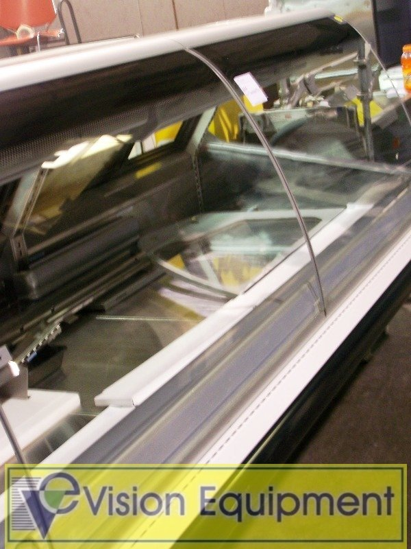 684: 8 foot Gravity  Coil Meat Case  Euro Curved Glass