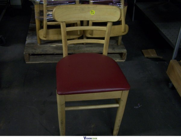 17N: Wooden Padded Restaurant Cafe Chairs