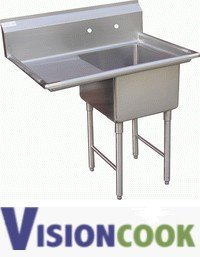 "921: New Commercial Duty 1 Comp Sink with 1 Left 15"" Dr"